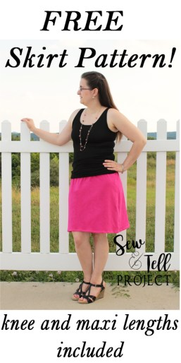Free Skirt Pattern! Knee and maxi lengths included! Such a fast and easy sewing project!