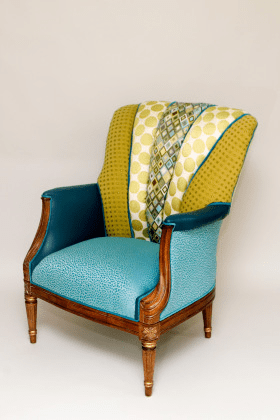 Custom reupholstered armchair.