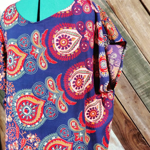 Handmade shift dress blue and multi color paisley close up