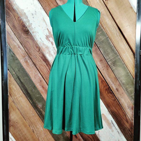 Green knit v neck elastic waist front