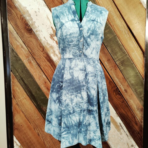 Blue Tie dye button front elastic waist