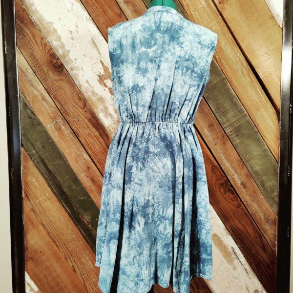 Blue Tie dye button front elastic waist back