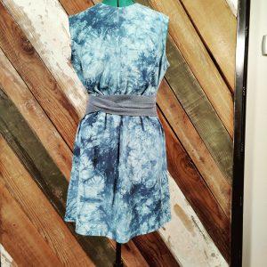 Blue tie dye sleeveless shift dress front with belt