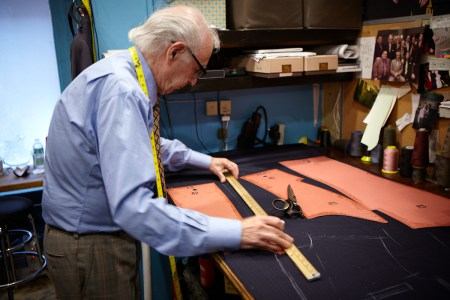 Suit being hand cut in NYC
