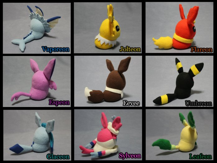 Eevee & Eevelutions (backs) collage HD with color names