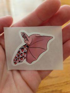 Pink Strawberry Bat Sticker Flying