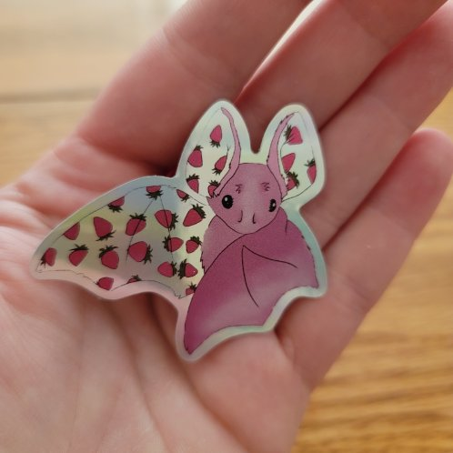 pink strawberry bat Holographic sticker