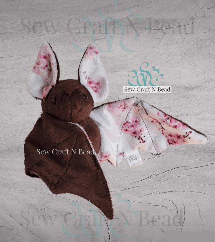 Brown Japanese Cherry Blossom Bat Plush