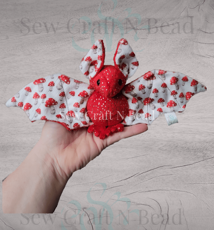 Regular Size Red Silver Sparkle Mushroom Bat Plush