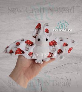 Regular Size White Mushroom Bat Plush
