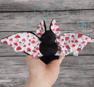 Regular Size Black Mushroom Bat Plush