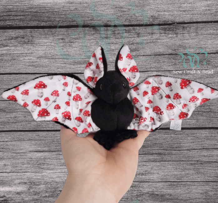 Regular Size Black Mushroom Bat Plush