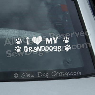 I Love my Granddogs Car Window Stickers