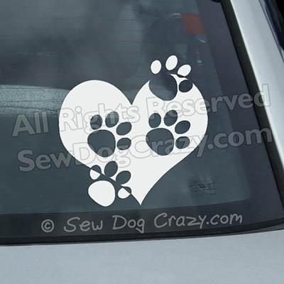 Paw Prints on Heart Window Stickers