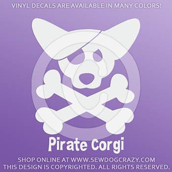 Pirate Corgi Vinyl Sticker