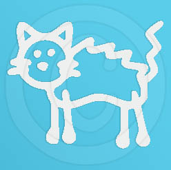 Scared Cat Vinyl Stick Figure Decal