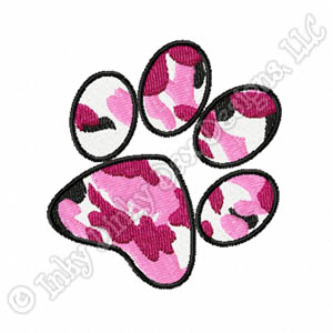 Pink Urban Camo Pawprint Embroidery