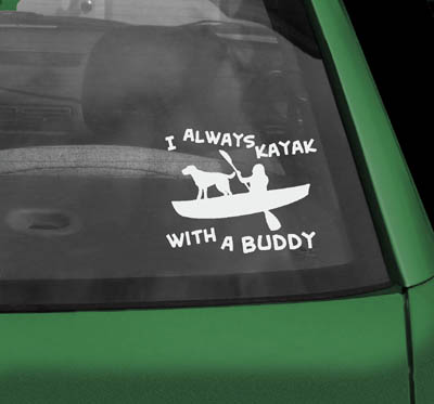 Kayak with Dog Sticker