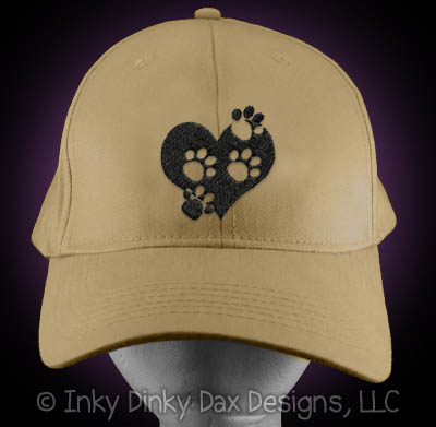 Embroidered Paw Prints on Heart Hat