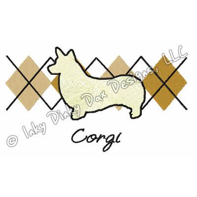 Argyle Corgi Embroidery
