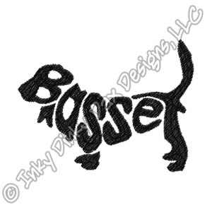 Basset Hound Silhouette Embroidery