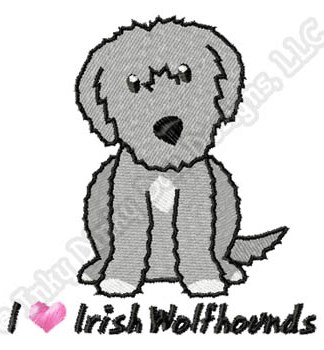 Cartoon Irish Wolfhound Embroidery