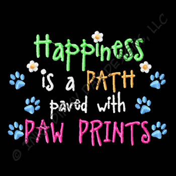 Happiness Paw Prints Embroidery