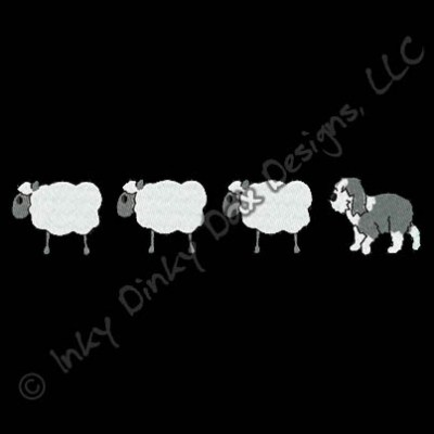 Old English Sheepdog and Sheep Embroidery