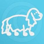 Fluffy Little Dog Stick Figure Decal