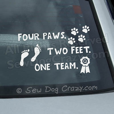 Four Paws Two Feet One Team Car Window Sticker