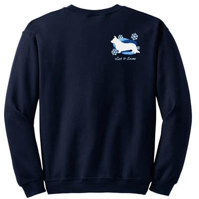 Snowflake Embroidered Cardigan Welsh Corgi Sweatshirt