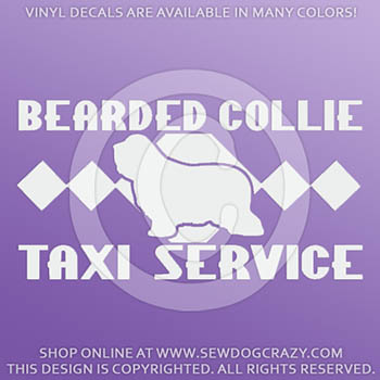 Bearded Collie Taxi Vinyl Sticker