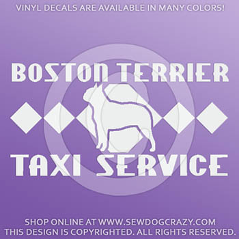 Boston Terrier Taxi Vinyl Decals
