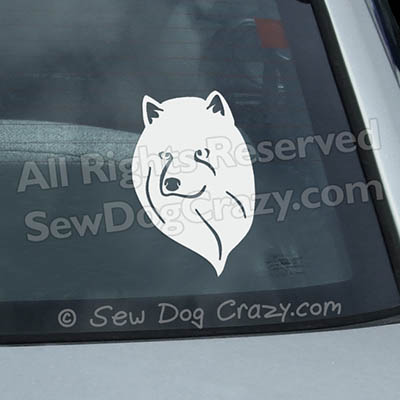 American Eskimo Dog Head Profile Window Sticker