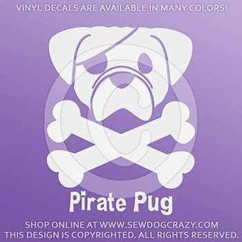 Pirate Pug Car Decals