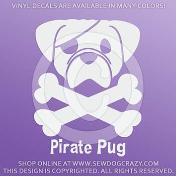 Pirate Pug Car Decals