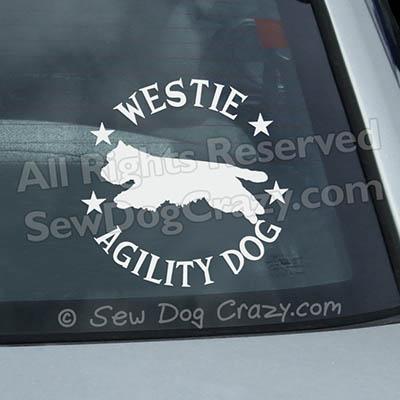 Westie Agility Car Window Stickers