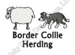 Border Collie Herding Sheep Embroidery