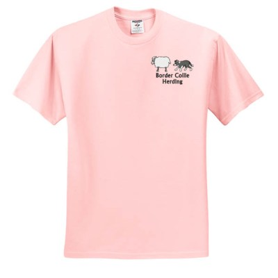 Embroidered Border Collie TShirt with Sheep