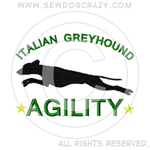 Embroidered Italian Greyhound Agility Shirts & Gifts