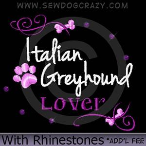 Rhinestones Embroidered Italian Greyhound Shirts