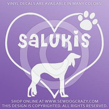 Heart Salukis Vinyl Stickers