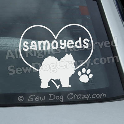 Vinyl Love Samoyeds Car Window Stickers