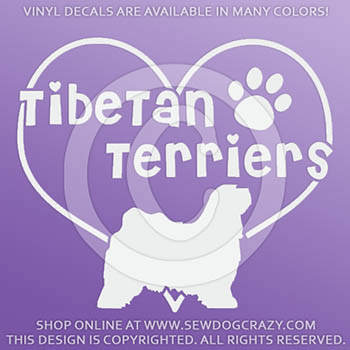 Heart Tibetan Terriers Vinyl Stickers