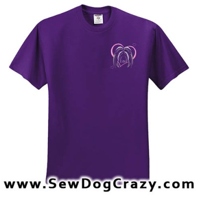 Pretty Embroidered Bearded Collie Tshirt