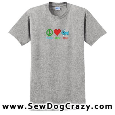 Cartoon Peace Love Dogs Tshirt