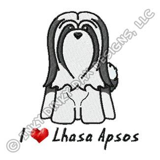 Cartoon Lhasa Apso Embroidery Apparel