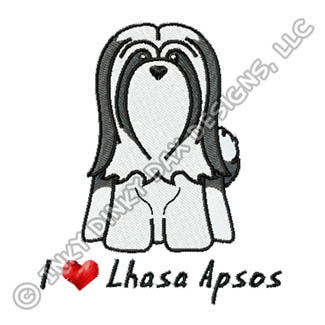 Cartoon Lhasa Apso Embroidery Apparel