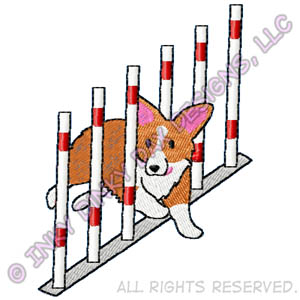 Cartoon Corgi Agility Apparel Embroidery