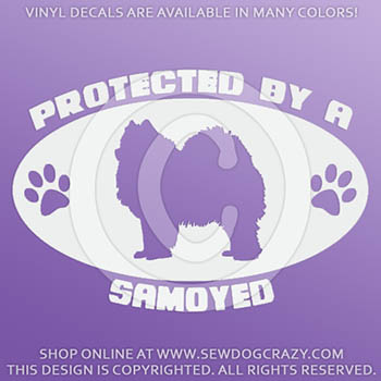 Protected by a Samoyed Car Sticker
